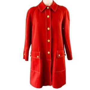VTG. 60s Red Mod Raincoat w Yellow Buttons